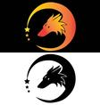 Moon fier fox head tribal with stars vector