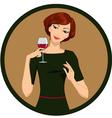 Girl drinking white wine vector