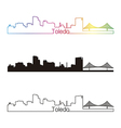 Toledo oh skyline linear style with rainbow vector