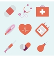 Decorative medical emergency first aid kit symbols vector