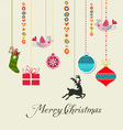 Retro christmas hanging elements vector