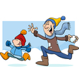 Dad and son on winter cartoon vector