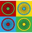 Pop art bicycle wheel icons vector