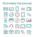 Multimedia line icons set vector