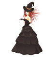 Witch in black dress vector