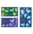 Set of butterfly business cards banners vector