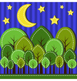 Spring forest at night dashed style vector