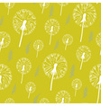 Hand drawn pattern of dandelion on a yellow vector