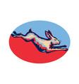 Rabbit jumping side retro vector