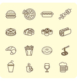 Fast food outline icon set vector