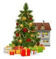 Christmas tree with house vector
