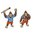 Cartoon gorilla playing baseball and rugby vector