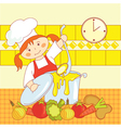 Little girl cooking soup vector