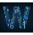 Letter w font from numbers vector