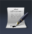 Blank note paper with pen contract vector