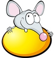Funny mouse with yellow egg isolated on white - vector
