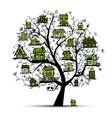 Tree with green houses on branches vector
