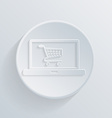 Circle icon laptop with symbol shopping cart vector