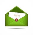 Green envelope letter merry christmas white card vector