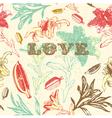 Vintage floral love background vector