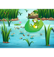 A playful frog and a turtle at the pond vector