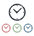 Clock grunge icon set vector