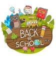 Cartoon characters back to school background vector