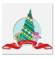 Card with christmas tree and gifts vector