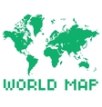Pixel art style world map green color shape vector