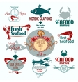 Seafood label set vector