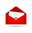 Red envelope letter merry christmas white card vector