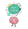 Cute cartoon brain back to school background vector