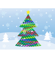 Snowy winter landscape with christmas tree vector