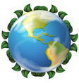 Earth with leaf border vector