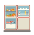 Outdoor refrigerator with food products icon vector
