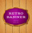 Purple banner on wooden background vector