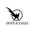 Dove and eagle negative space concept design vector