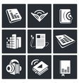 Audio book icons set vector