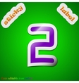 Number two icon sign symbol chic colored sticky vector