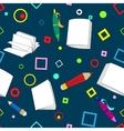 School notes seamless pattern on dark blue vector