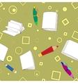 School notes seamless pattern on khaki background vector