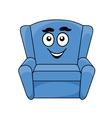 Comfortable upholstered blue armchair vector