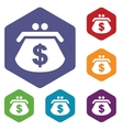 Dollar purse rhombus icons vector