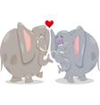 Elephants in love cartoon vector