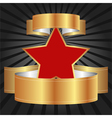 Red star with gold ribbons vector