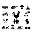 Rooster on fence surrounded by farm themed icons vector