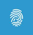 Fingerprint icon white on the blue background vector