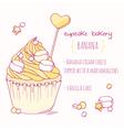 Hand drawn banana cupcake vector