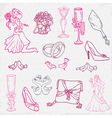 Beautiful wedding hand drawn vector