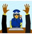 Virtual woman police vector